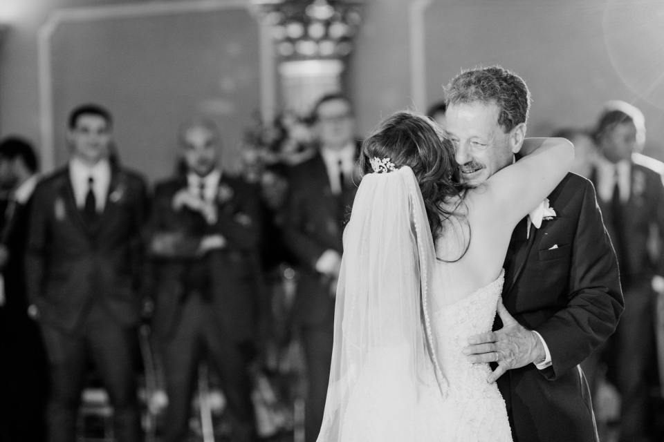 father daughter dance, black and white photo, NJ wedding photographer