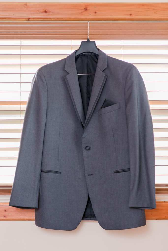 classic grey groomsmen suit; Mens Warehouse