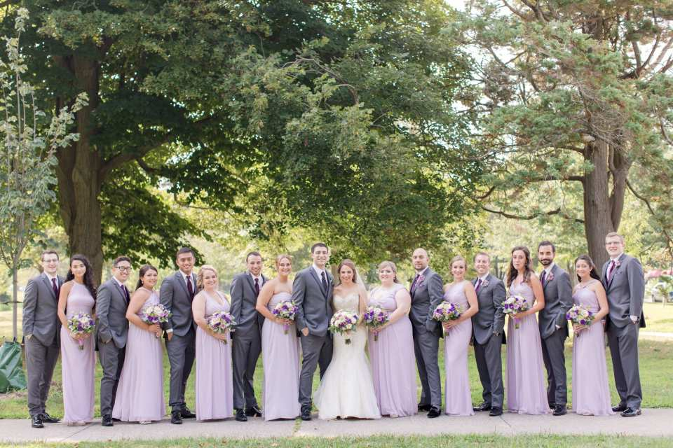 classic wedding party photo, large wedding party photo, central nj wedding party, NJ wedding photographer