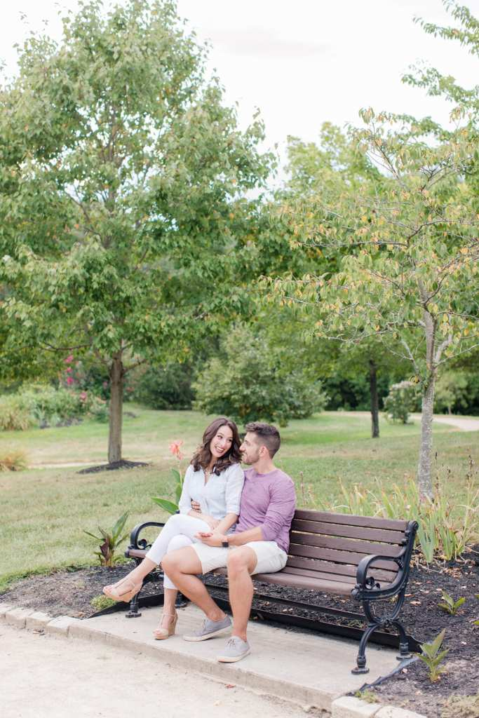 park bench couple photo, Central New Jersey engagement photos, New Jersey wedding photographer