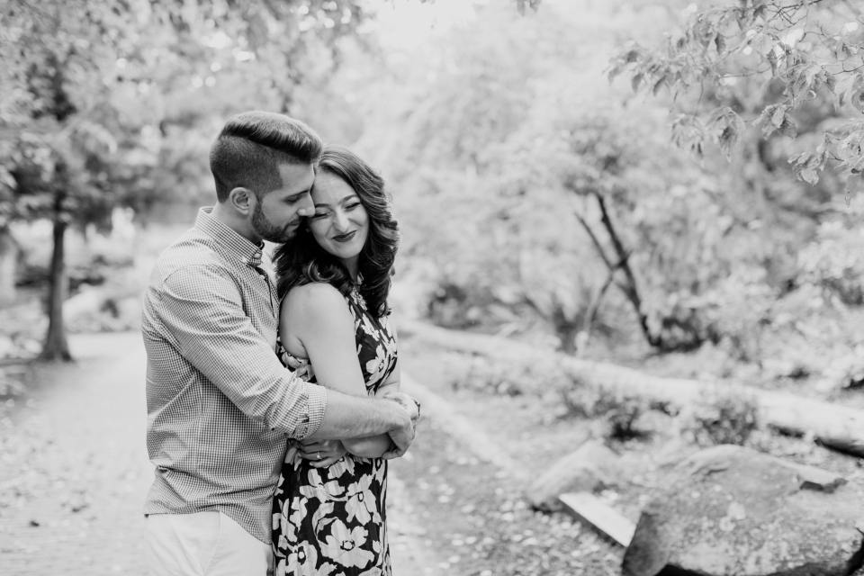 black and white engagement, outdoor garden engagement photo, NJ wedding photographer