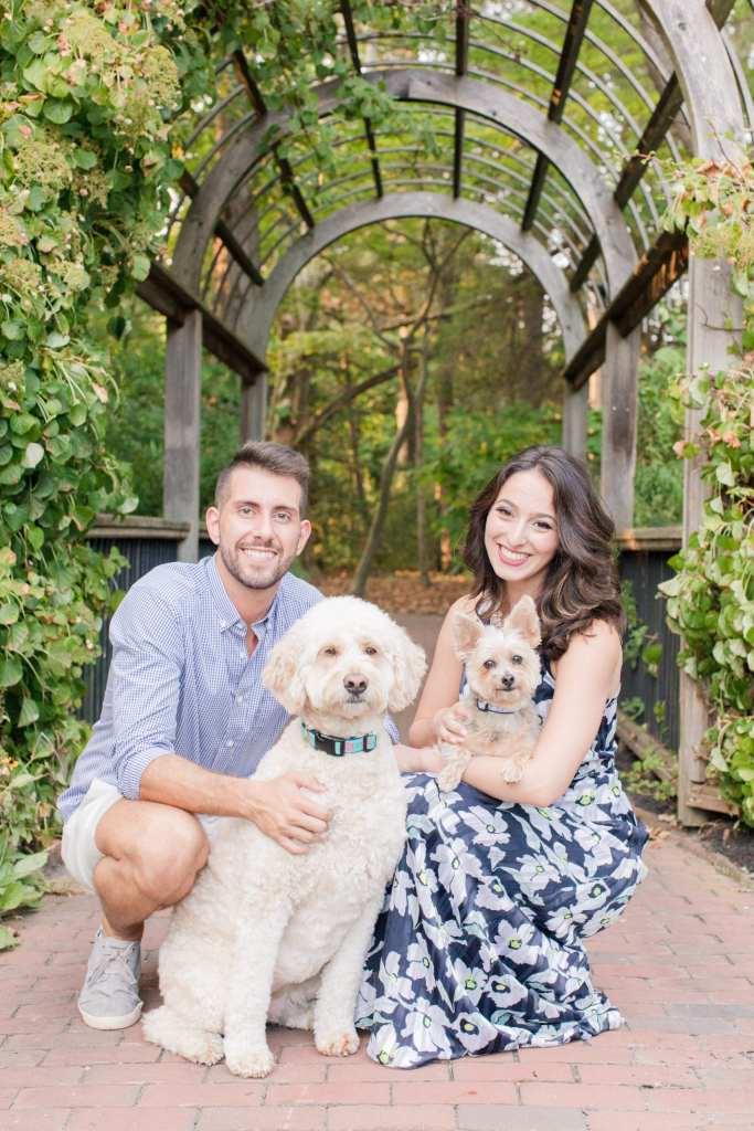 Sayen Gardens, Pets in engagement sessions, engagement session with dogs, NJ wedding photographer