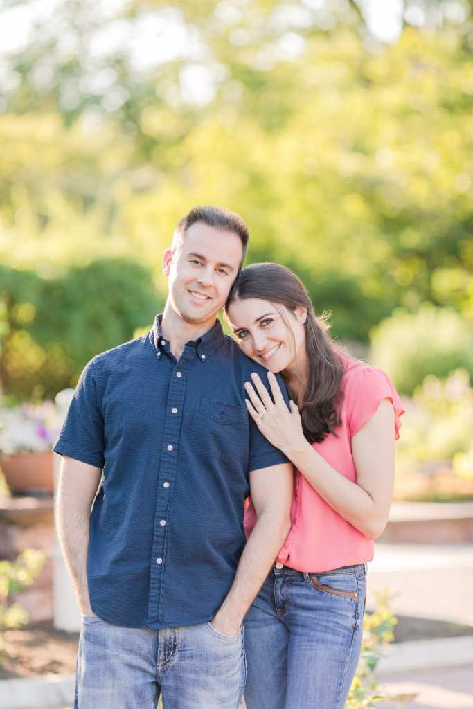 Summer engagement photos, Colonial Park Rose Garden engagement session