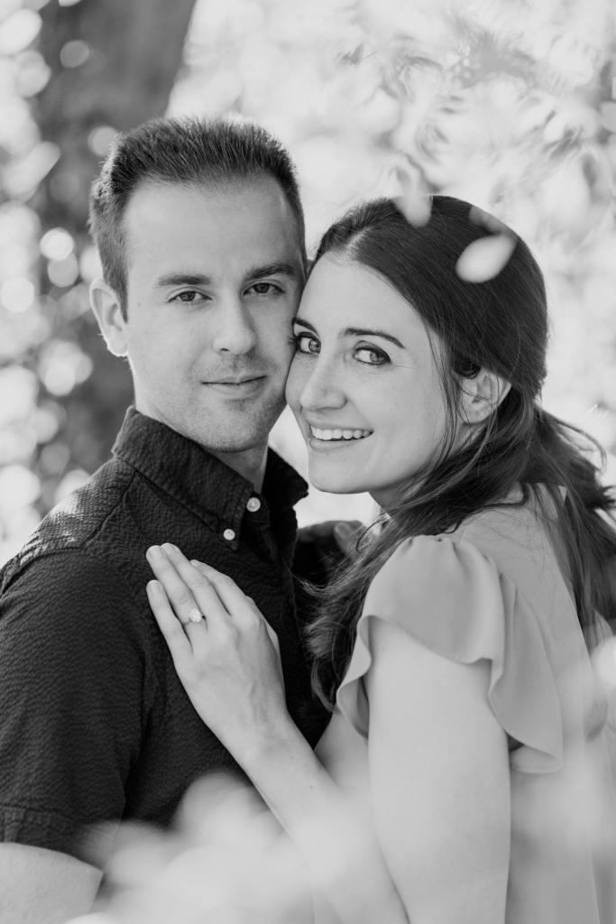 black and white engagement photo, Colonial Park engagement session