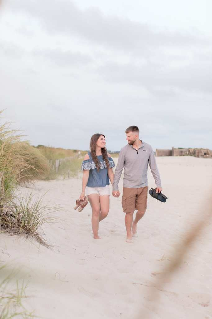 relaxed engagement session, casual engagement session, beach engagement session