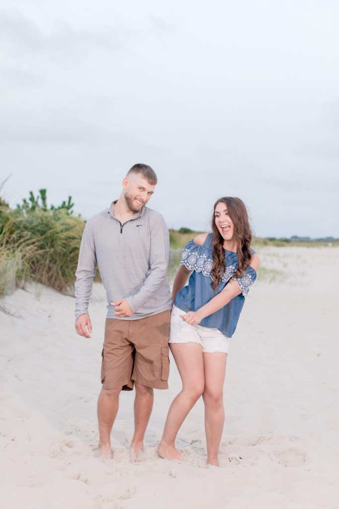 fun beach engagement session