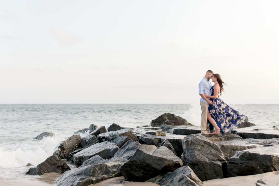 Cape May jetty engagement photo session, South Jersey beach engagement session, NJ wedding photographer