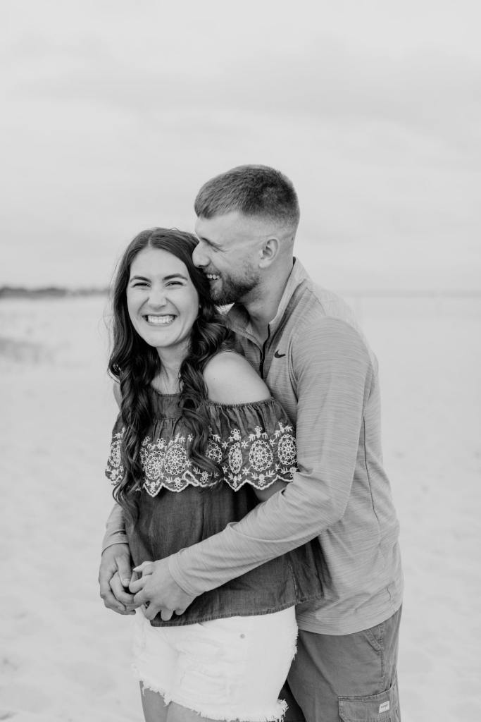 black and white engagement photo, fun engagement photo, casual engagement photo, beach engagement photo