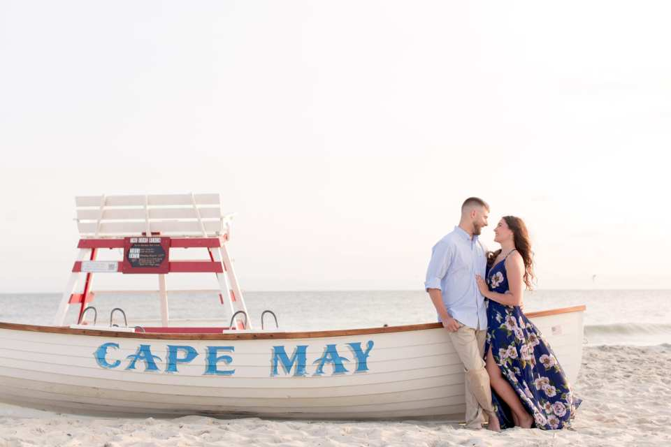 classic Cape May boat engagement photo, Cape May engagement photo, beach engagement photo
