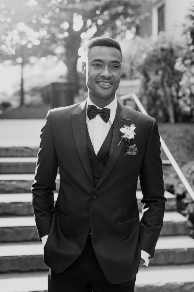 classic black and white photo of groom