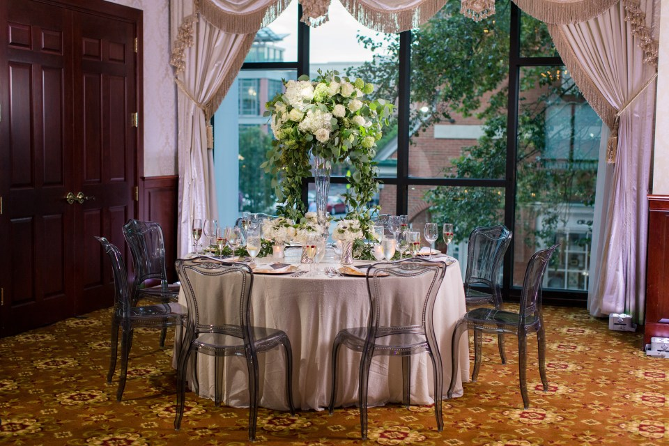 Nassau Inn wedding reception, mauve wedding reception