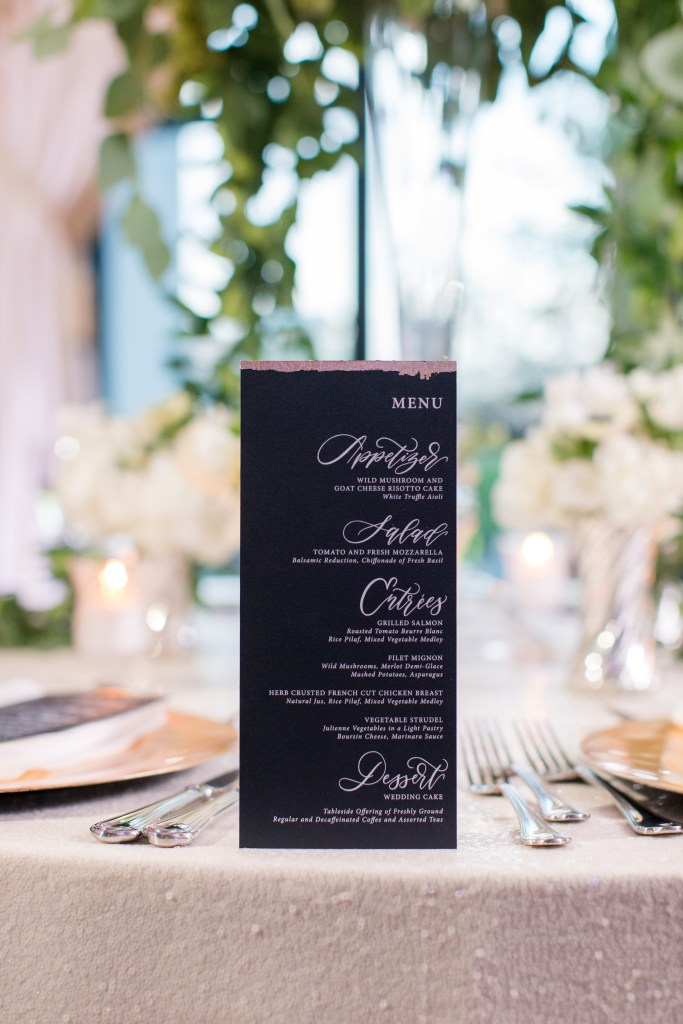 Lace and Belle black wedding reception dinner menu