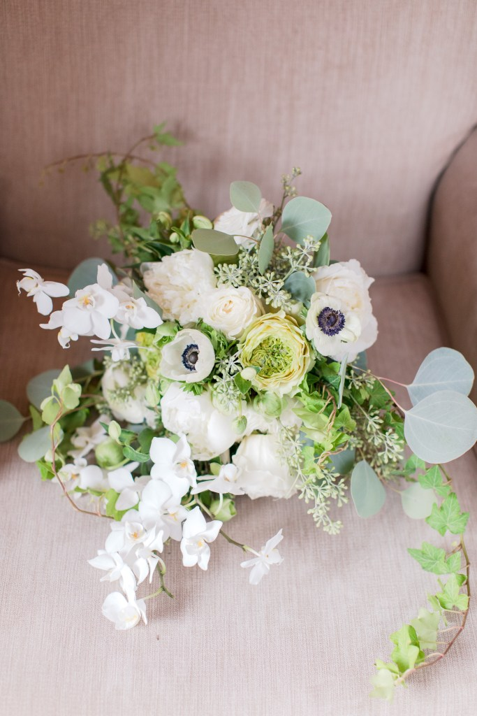 classic white bridal bouquet with orchids, Dahlia's weddings