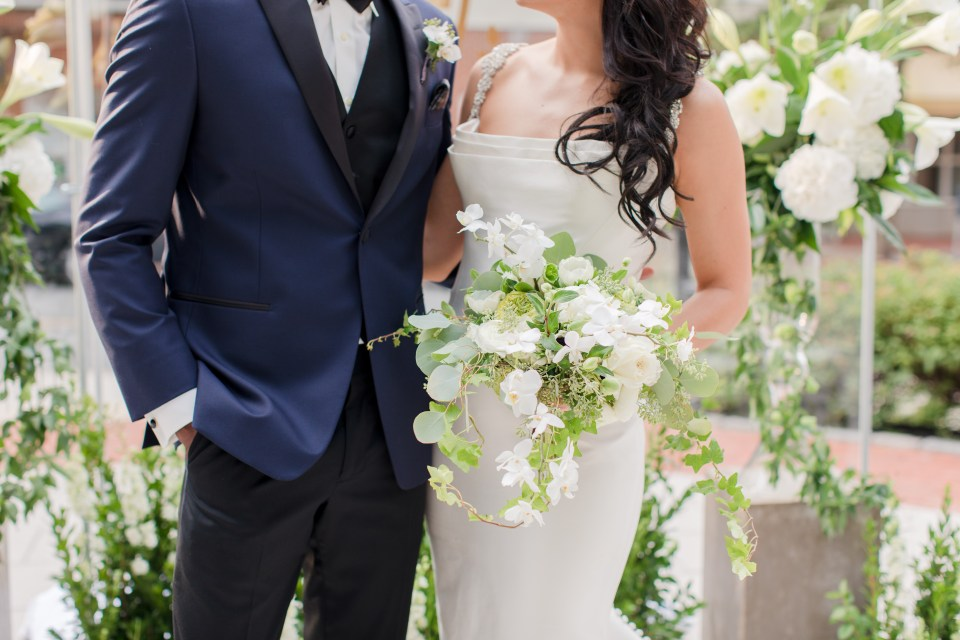 traditional bride and groom at the altar photo, outdoor wedding, white orchid bridal bouquet, Princeton weddings, NJ wedding photographer