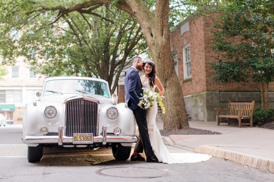 bride and groom with antique car, classy bride and groom portrait, NJ wedding photographer