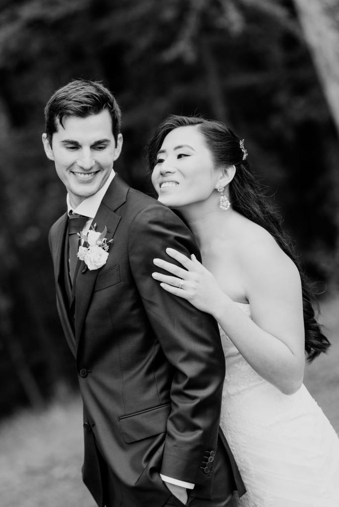 bride and groom black and white photo, bride and groom first look, outdoor bride and groom photo, NJ wedding photographer