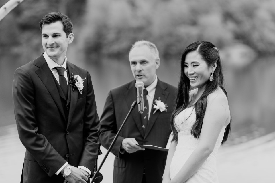 black and white wedding ceremony, stunning candid photo of bride and groom during wedding ceremony, NJ wedding photographer