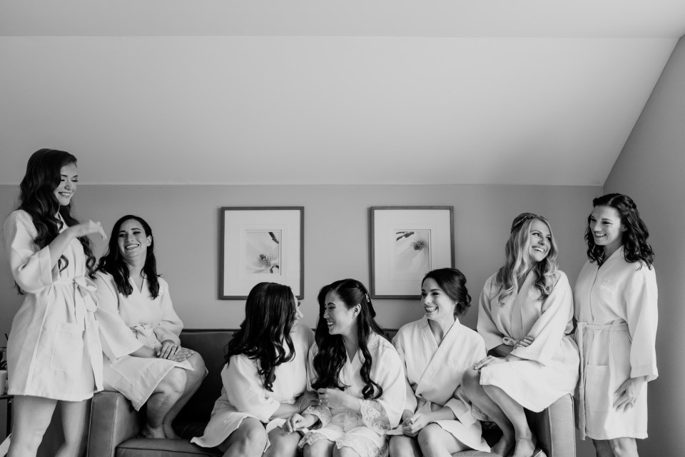 black and white bride and bridesmaids getting ready, NJ wedding photographer