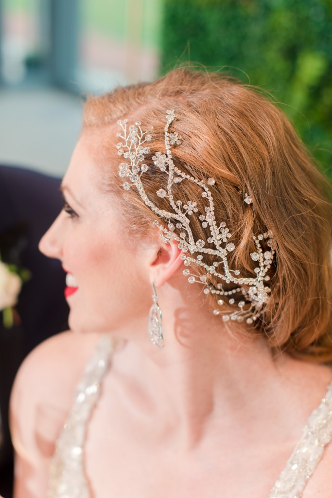 hair piece, beaded bridal hair piece, Cosmo Bleu Salon, NJ wedding photographer