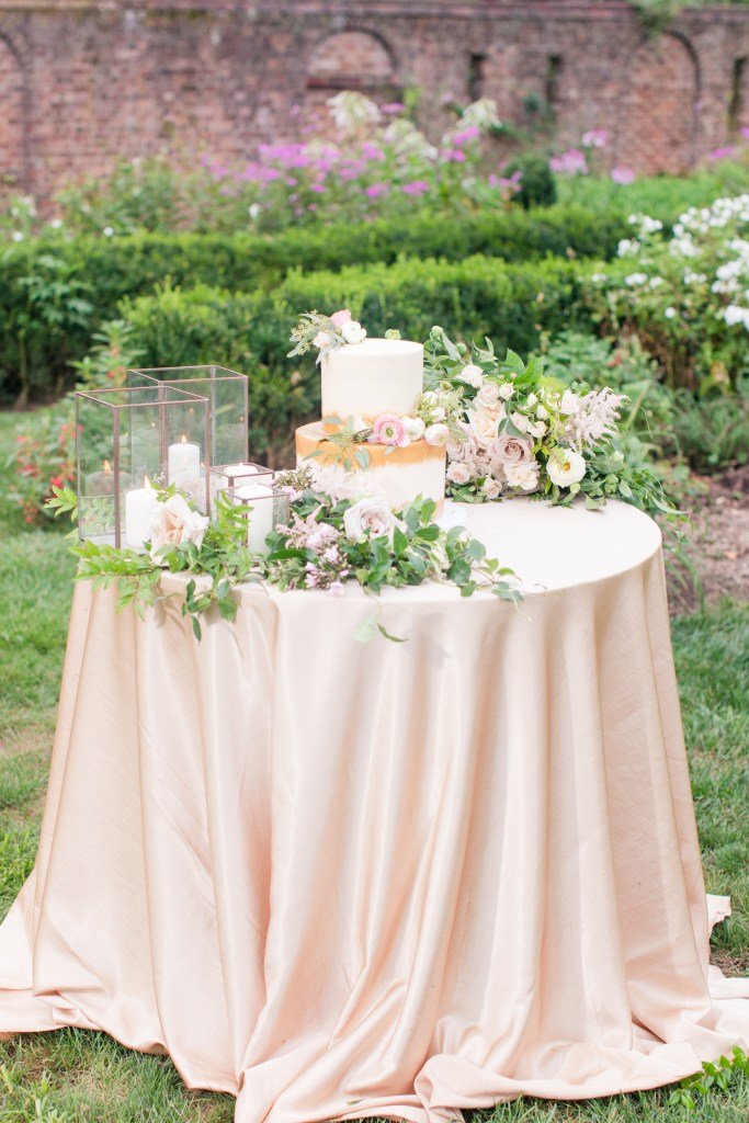 blush cake table, blush rose and candle cake table, Magnolia West weddings, NJ wedding photographer