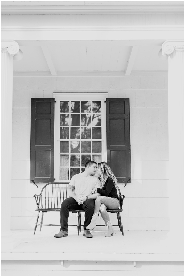 black and white engagement photo on front porch, porch engagement photos, Longstreet Farm engagement photos