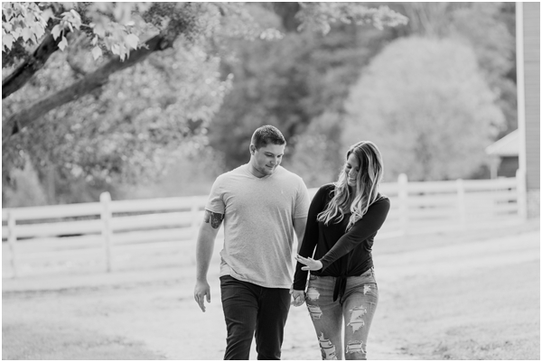 black and white engagement photo, casual engagement photo
