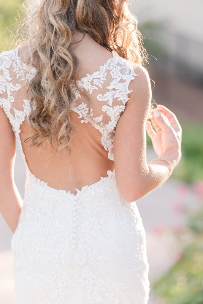 classic back of bridal gown photo, lace bridal gown, Maggie Sottero gown, NJ wedding photographer