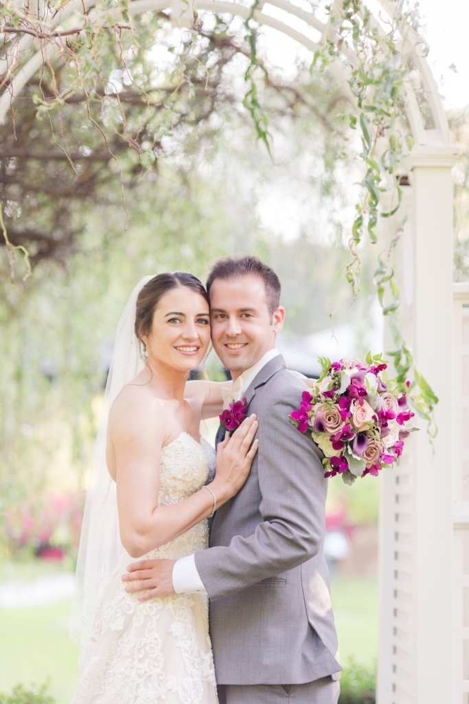 bride and groom in portrait outdoors at Shadowbrook at Shrewsbury