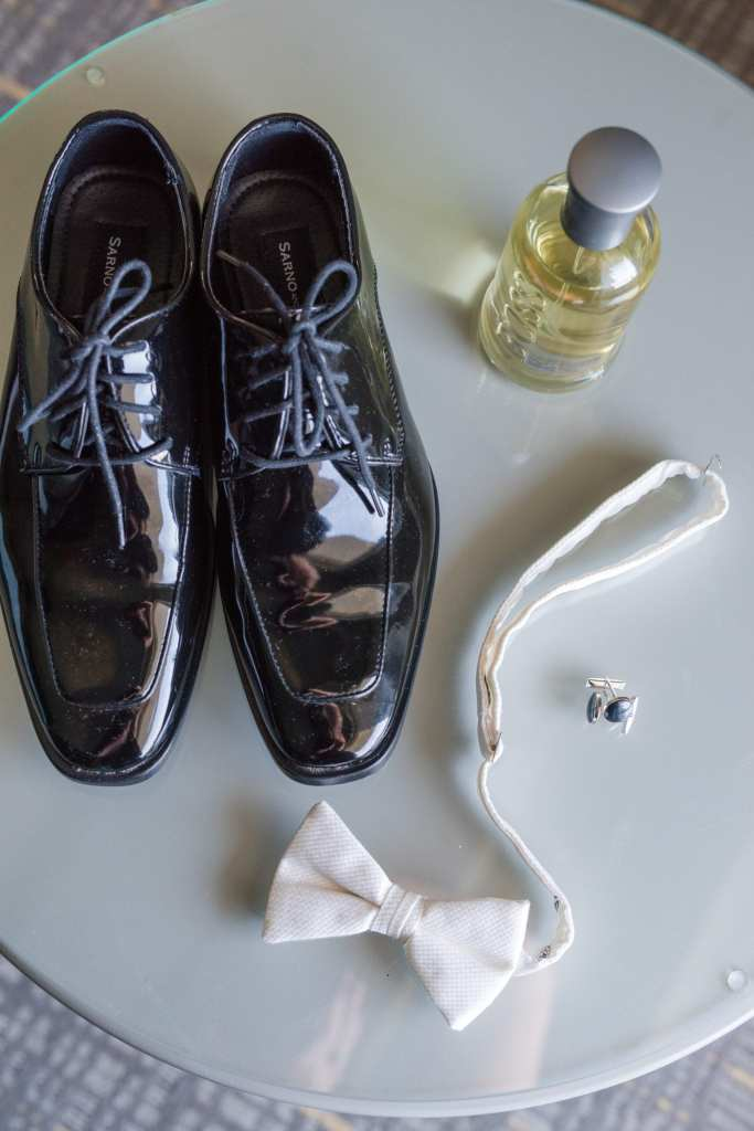 white bow tie, mens tuxedo shoes, cuff links and cologne