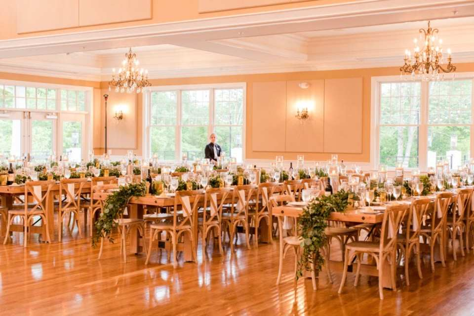 rustic wedding reception with greenery and succulents at Bear Brook Valley by New Jersey wedding photographer