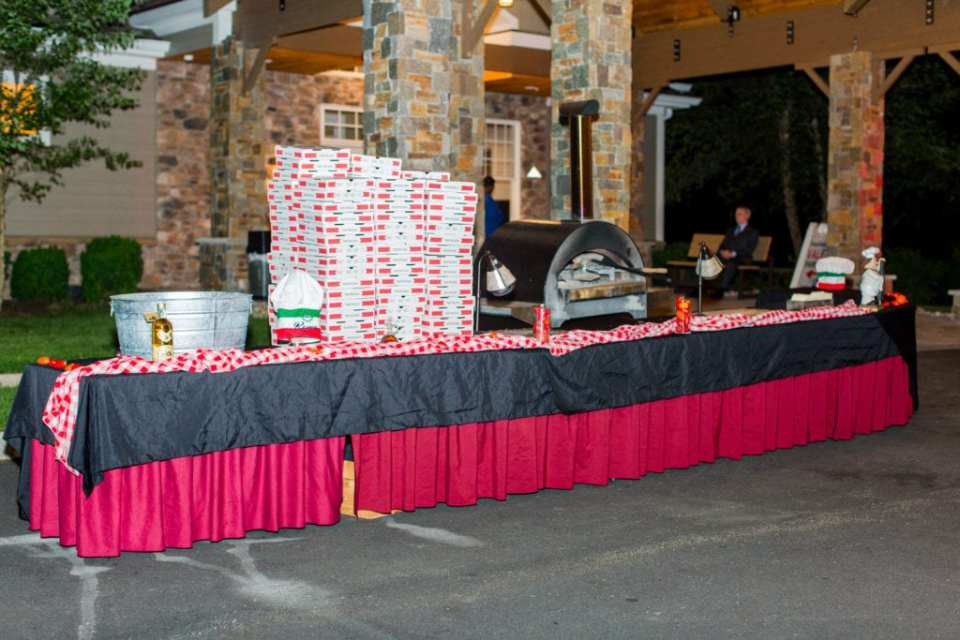 Bear Brook Valley end of night unique food display of brick oven fired pizza, including pizza boxes