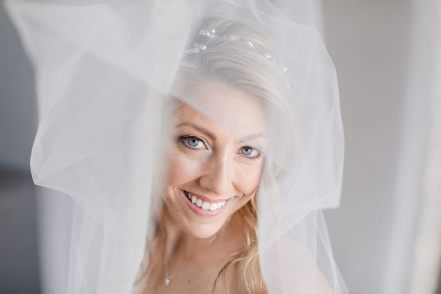 bridal portrait under the veil, smiling and looking up