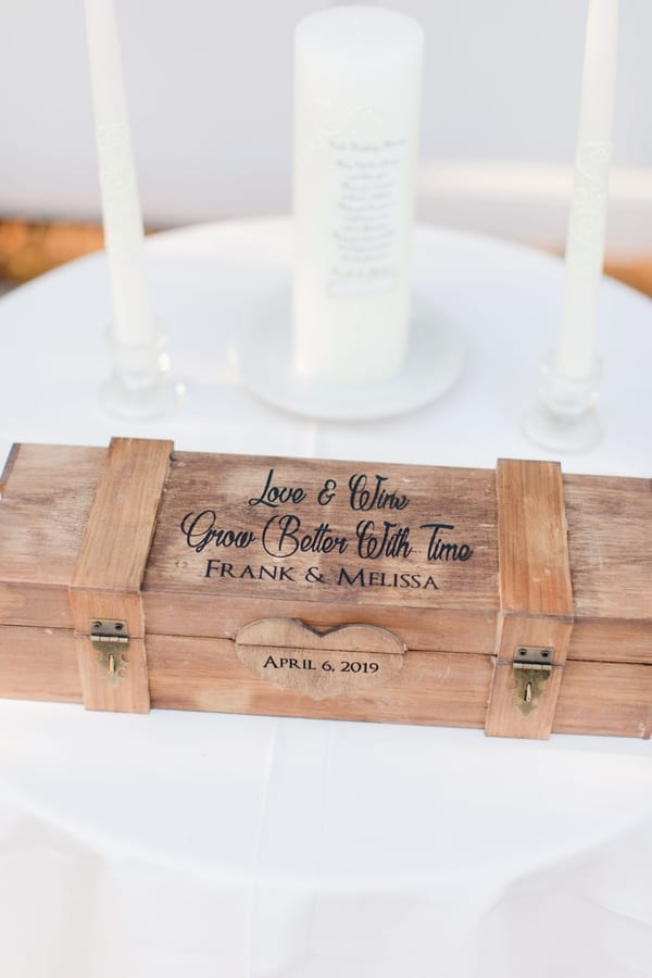 engraved wine box on ceremony table