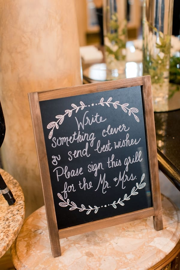 guest book instructions to sign on a grill