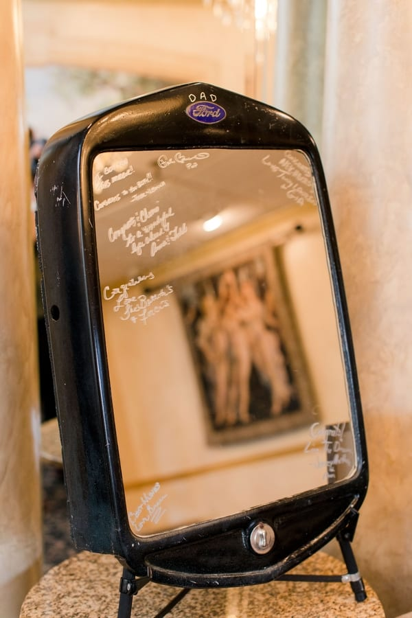 guest book on a mirror on a grill