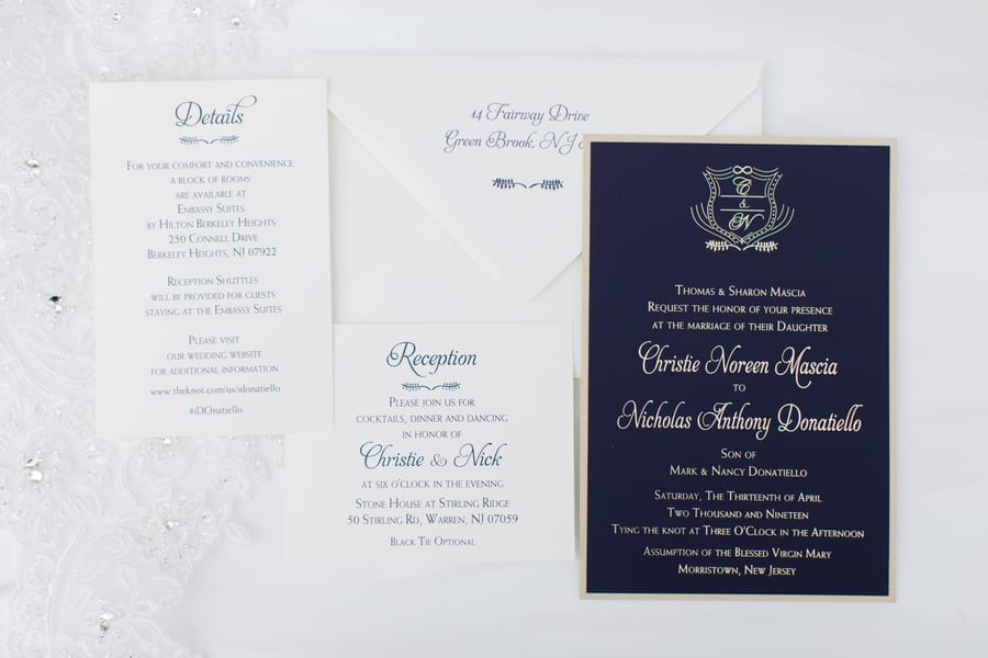 dark navy blue invitation suite