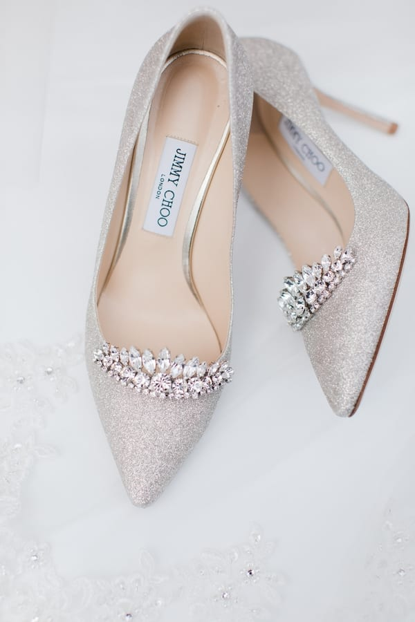 brides Jimmy Choo rhinestone and glitter heels