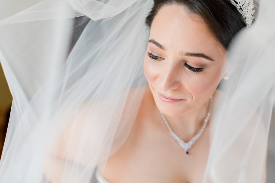 classic under the veil shot, bride looking down and away