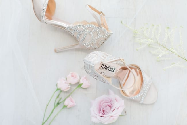 compliation photo of details of the wedding including the brides shoes and florals