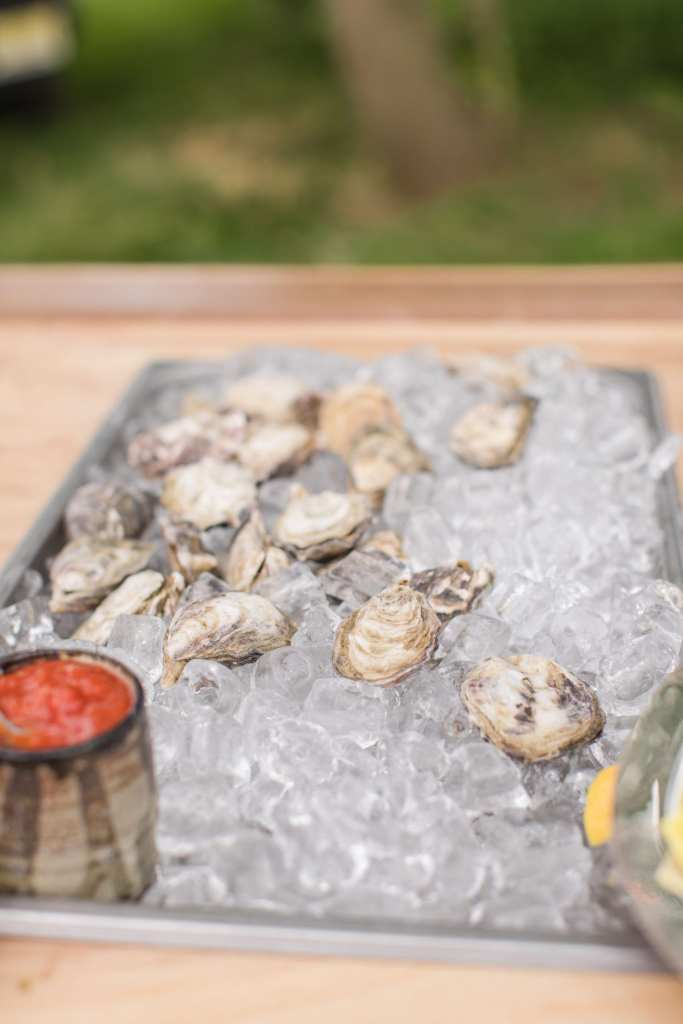 close up of oysters on ice during cocktail hour