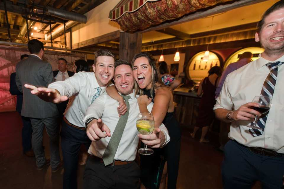 fun photos of guests during the wedding reception