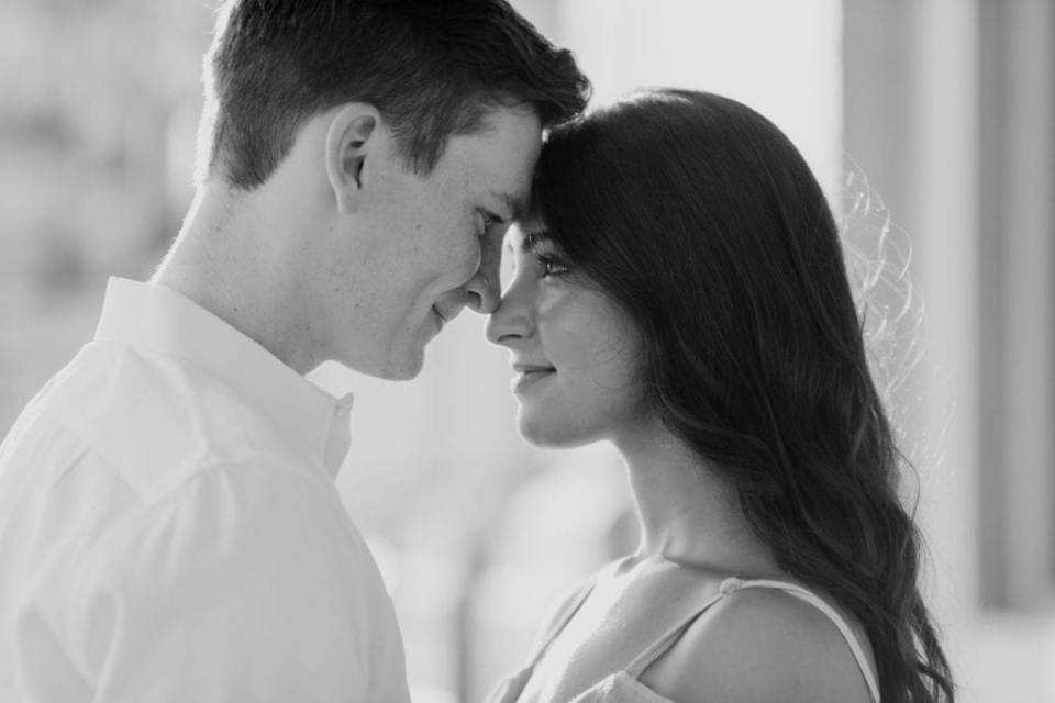 black and white close up photo of the bride and groom to be with their foreheads together, gazing into one anothers eyes by New Jersey wedding photographer
