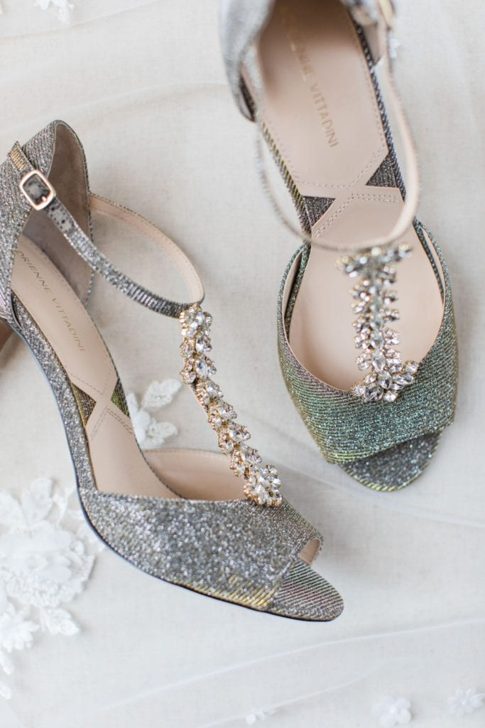 The brides silver and jeweled heels by Adrienne Vittadini