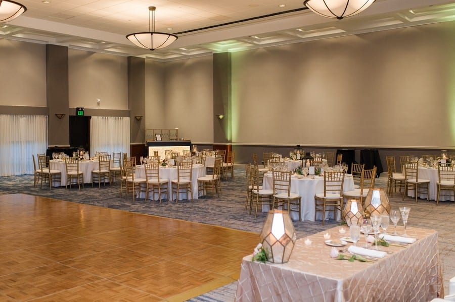 Ballroom at Princeton Marriott at Forrestal Wedding with neutral linens and gold chivari chairs