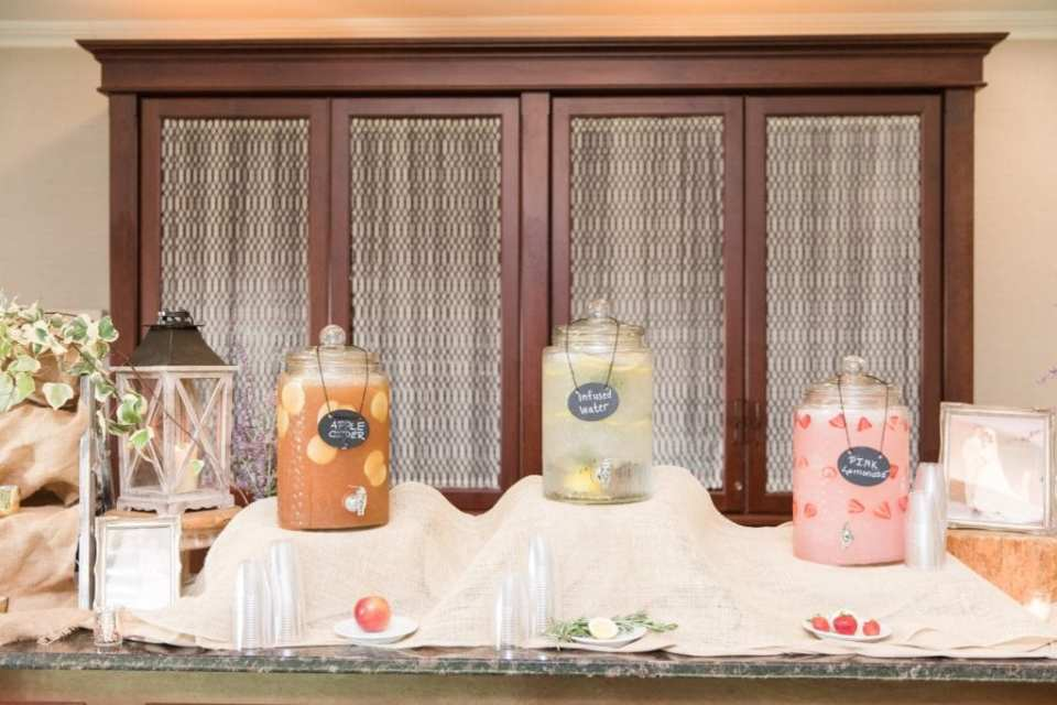 Beverages on display for guests before the wedding ceremony