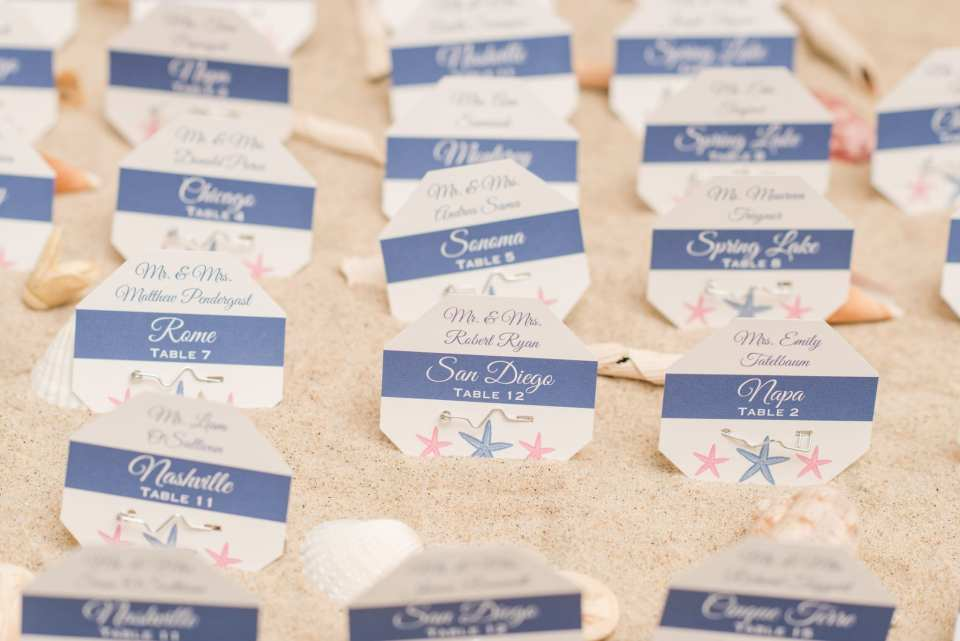 Wedding detail shot: guest place cards in the shape of beach badges