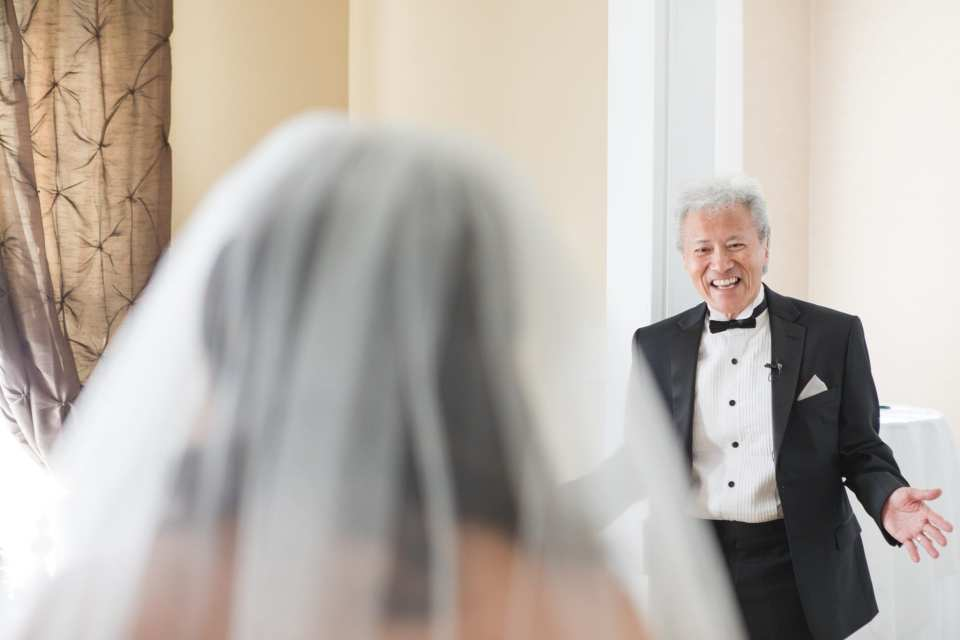 A photo capturing the brides father's first look at his little girl
