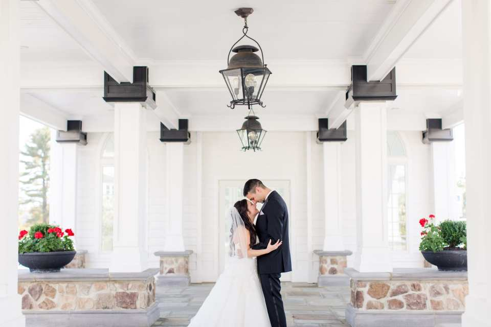 Portrait of the bride and groom in these Ryland Inn Wedding Photos