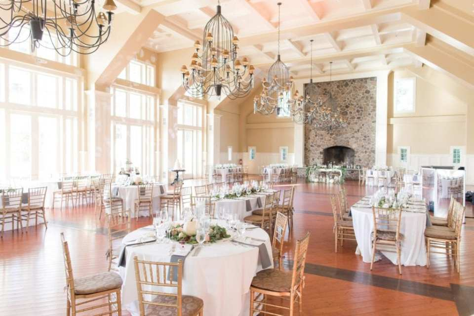 Wide angle photo of the grand ballroom at the Ryland Inn