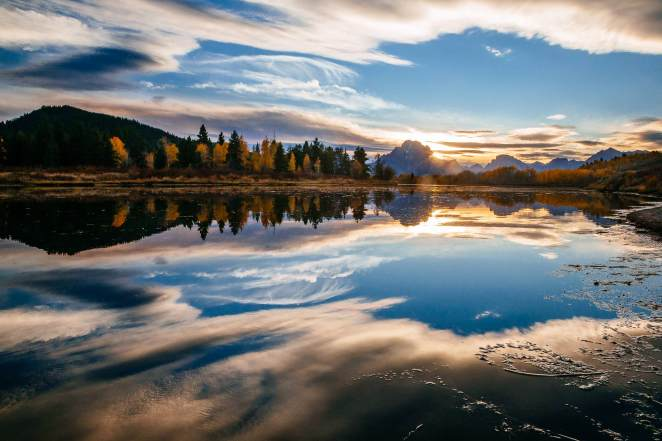Teton Photo Adventures - Autumn Wyoming Clouds Reflection